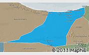 Political 3D Map of Az Zawia (Azzawiya), semi-desaturated