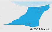 Political 3D Map of Az Zawia (Azzawiya), single color outside