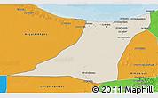 Shaded Relief 3D Map of Az Zawia (Azzawiya), political outside
