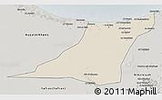 Shaded Relief 3D Map of Az Zawia (Azzawiya), semi-desaturated