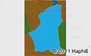 Political 3D Map of Ghadamis, darken