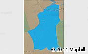 Political 3D Map of Ghadamis, semi-desaturated