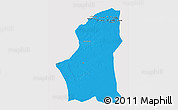 Political 3D Map of Ghadamis, single color outside