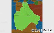 Political 3D Map of Gharyan, darken