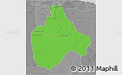 Political 3D Map of Gharyan, desaturated