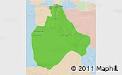 Political 3D Map of Gharyan, lighten
