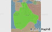 Political 3D Map of Gharyan, semi-desaturated