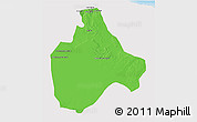 Political 3D Map of Gharyan, single color outside