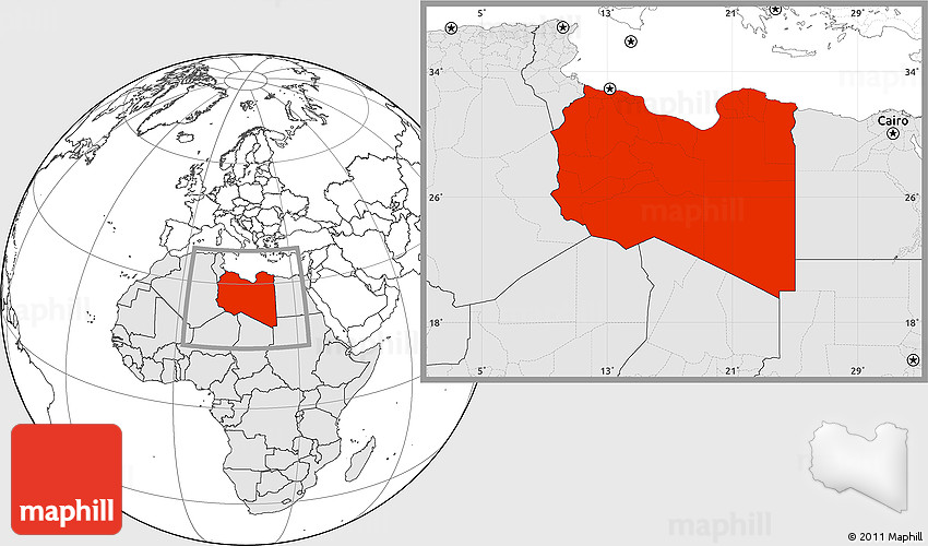 Blank Location Map of Libya, highlighted continent