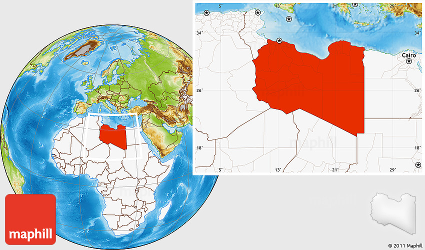 Physical Location Map of Libya highlighted continent
