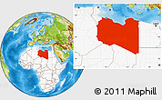Physical Location Map of Libya, highlighted continent