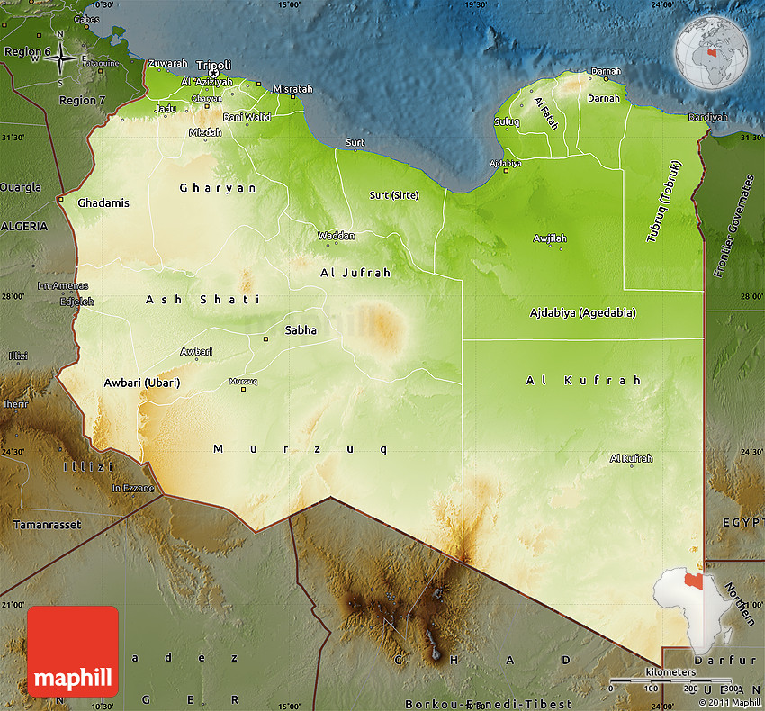 Physical Map of Libya darken
