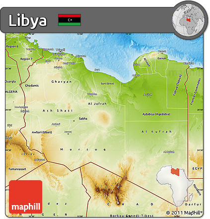 Free Physical Map of Libya