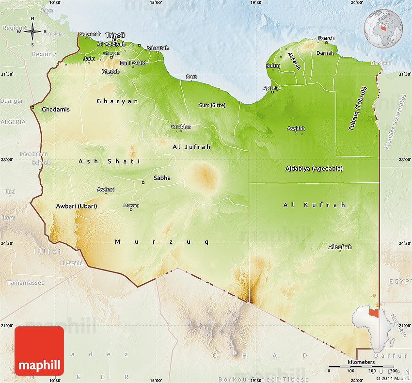 Physical Map of Libya lighten