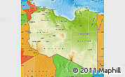Physical Map of Libya political outside shaded relief sea