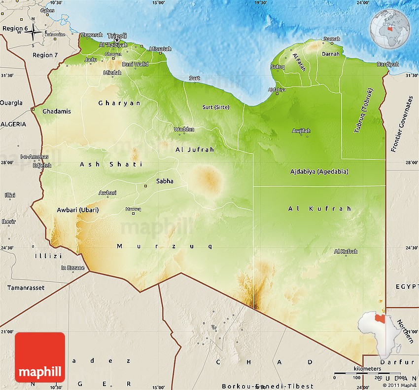 Physical Map of Libya, shaded relief outside