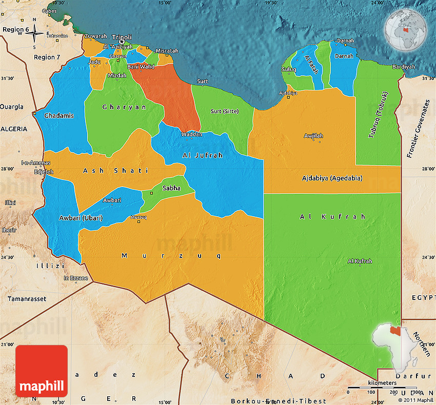 Political Map of Libya satellite outside