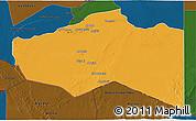 Political 3D Map of Murzuq, darken