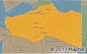 Political 3D Map of Murzuq, semi-desaturated