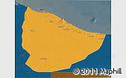 Political 3D Map of Nuqat Al Khams, darken