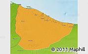 Political 3D Map of Nuqat Al Khams, physical outside