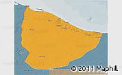 Political 3D Map of Nuqat Al Khams, semi-desaturated