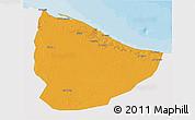 Political 3D Map of Nuqat Al Khams, single color outside