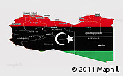 Flag Panoramic Map of Libya
