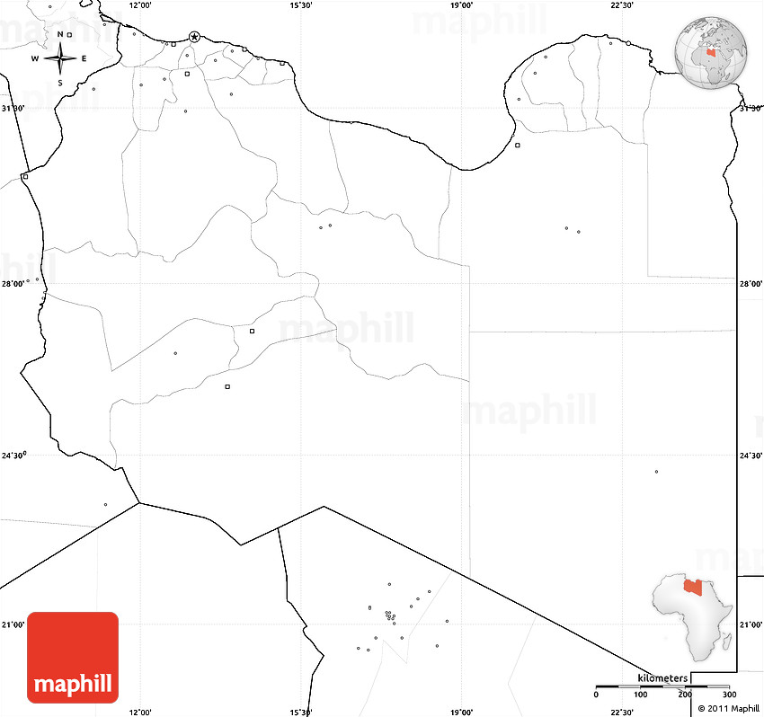 Blank Simple Map of Libya no labels