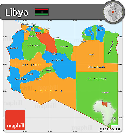 Free Political Simple Map of Libya single color outside