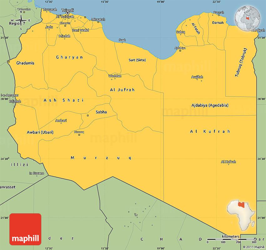 Savanna Style Simple Map of Libya