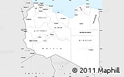 Silver Style Simple Map of Libya