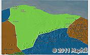 Political 3D Map of Tripoli (Tarabulus), darken