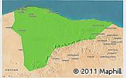 Political 3D Map of Tripoli (Tarabulus), satellite outside