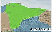 Political 3D Map of Tripoli (Tarabulus), semi-desaturated