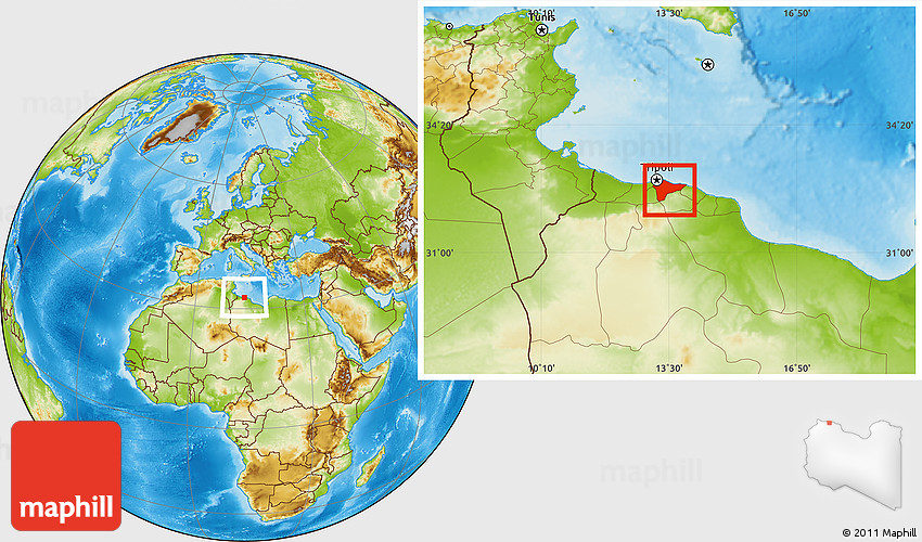 Physical Location Map of Tripoli Tarabulus