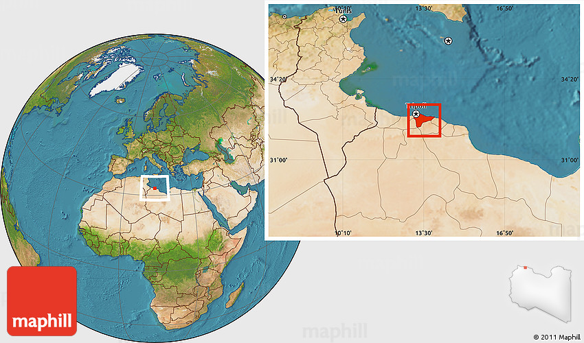Satellite Location Map of Tripoli Tarabulus