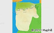 Physical 3D Map of Yafran (Yefren), political outside