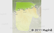 Physical 3D Map of Yafran (Yefren), semi-desaturated
