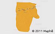 Political 3D Map of Yafran (Yefren), cropped outside