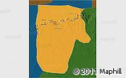 Political 3D Map of Yafran (Yefren), darken