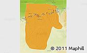 Political 3D Map of Yafran (Yefren), physical outside