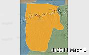 Political 3D Map of Yafran (Yefren), semi-desaturated