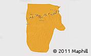 Political 3D Map of Yafran (Yefren), single color outside
