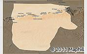 Satellite Panoramic Map of Yafran (Yefren), darken