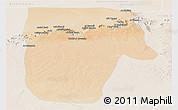 Satellite Panoramic Map of Yafran (Yefren), lighten
