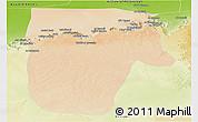 Satellite Panoramic Map of Yafran (Yefren), physical outside