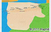 Satellite Panoramic Map of Yafran (Yefren), political outside