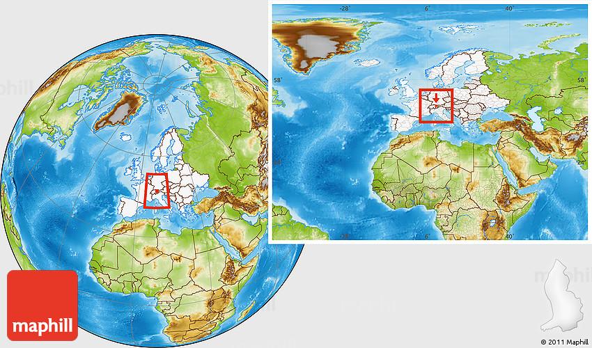 Physical Location Map of Liechtenstein highlighted continent