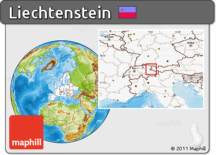 Free Physical Location Map of Liechtenstein highlighted continent